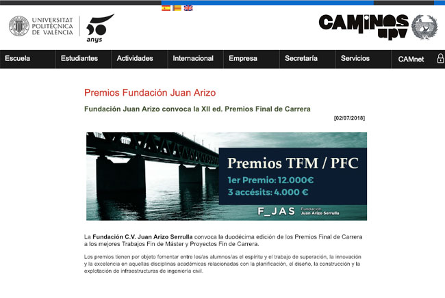 Artículo de la XII convocatoria de los Premios Juan Arizo en la web de la Escuela de Caminos de la UPV