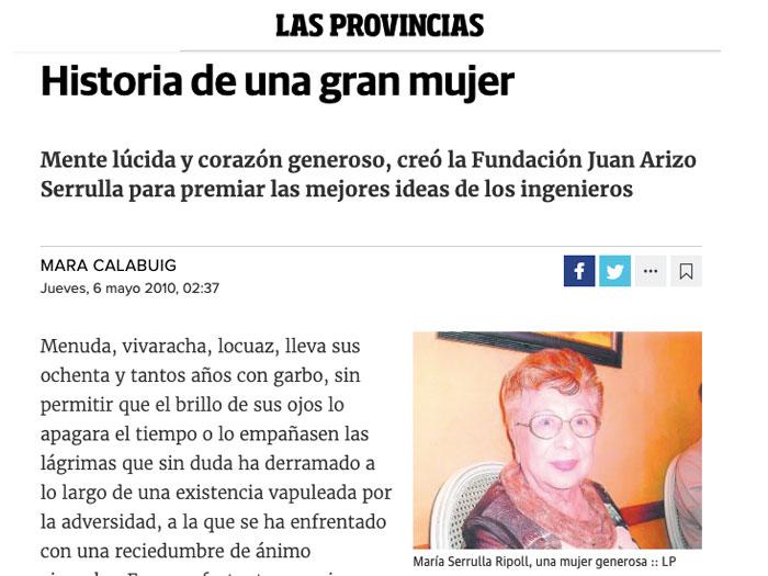 María Serrulla, protagonista en el diario Las Provincias