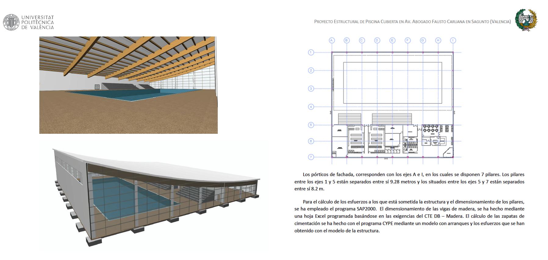La egresada María Teresa Martínez Comes obtiene el primer premio de la Fundación Juan Arizo Serrulla por su TFM sobre el proyecto estructural de piscina cubierta en Sagunto
